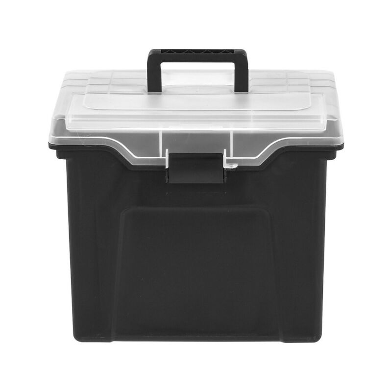 Staples Portable File Box with Organizer Top Black (110970) 757448