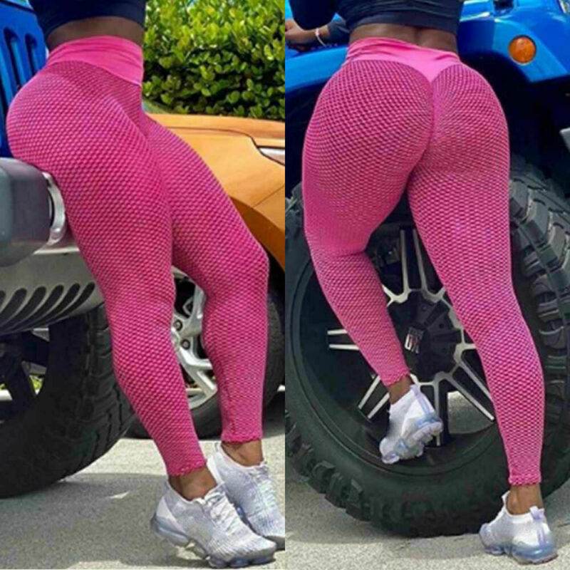 Damen Legging Stretch Sporthose Laufhose 3D Hochbund YOGA Trainingshosen Leggins
