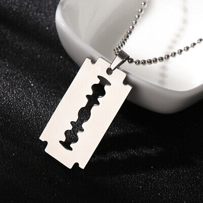 Unisex Street Hip Hop Dogtag Necklace Pendant Stainless Steel Razor Blade Shaped