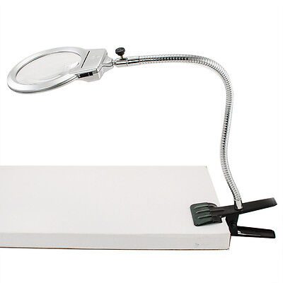 Lamp Magnifier LED Magnifying Light Desk Table Repair Clamp 2.25X 5X Clip Loupe