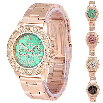Diamond Three Eyes Metal Band Women Men Watch Analog Quartz Fashion Wrist Watch