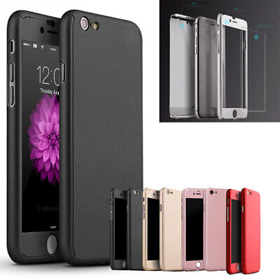 For iPhone 5s 6s 7 8 Plus SE Ultra Slim PC Cover with Screen Protector Hard Case