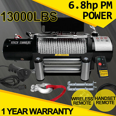 Heavy Duty Electric Winch Recovery 13000LB 12V Wireless Remote 4x4WD Truck Boat