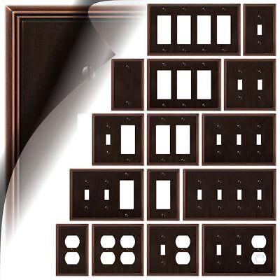 - Aged Bronze Switch Plate Metro Line Wallplate Outlet Cover Toggle Rocker Decora