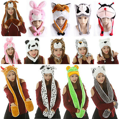 Cute Warm 3 in 1 Hat Animal Scarf Cap Mittens Earmuff Plush Halloween Costume - Animal In Costumes