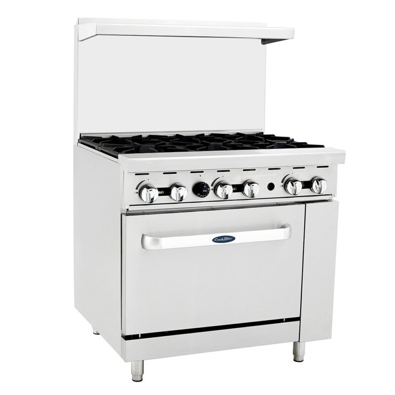 "Atosa Ato-6b Cookrite 36"" (6) Burner Gas Range W/ Oven"