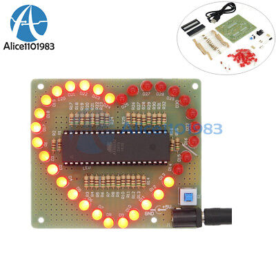 Love Heart Shape Red Led Light Water Electronic Flashing Suite Gift Diy Kit