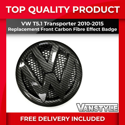 FOR VW TRANSPORTER T5.1 CARBON FIBRE EFFECT FRONT RADIATOR GRILLE BADGE 2010-15
