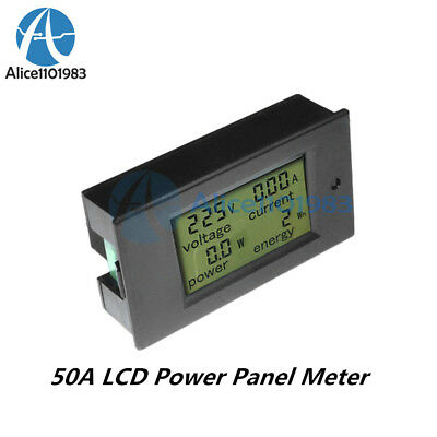 Digital Dc 50a Lcd Power Panel Meter Monitor Power Energy Voltmeter Ammeter