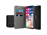 iPhone 10 Case Cover with Black Premium PU Leather and Stand
