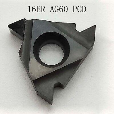2pcs For Aluminum 16er Ag60 Pcd Diamond Tipped Lathe Turning Insert Cnc Tools