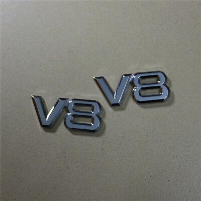 2PCS Small V8 Chrome Metal Silver Emblem Sticker Badge Decal Sport Turbo 3D Auto