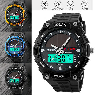 LCD Display Solar Power Sport Dual Time Digital Waterproof Analog Quartz -