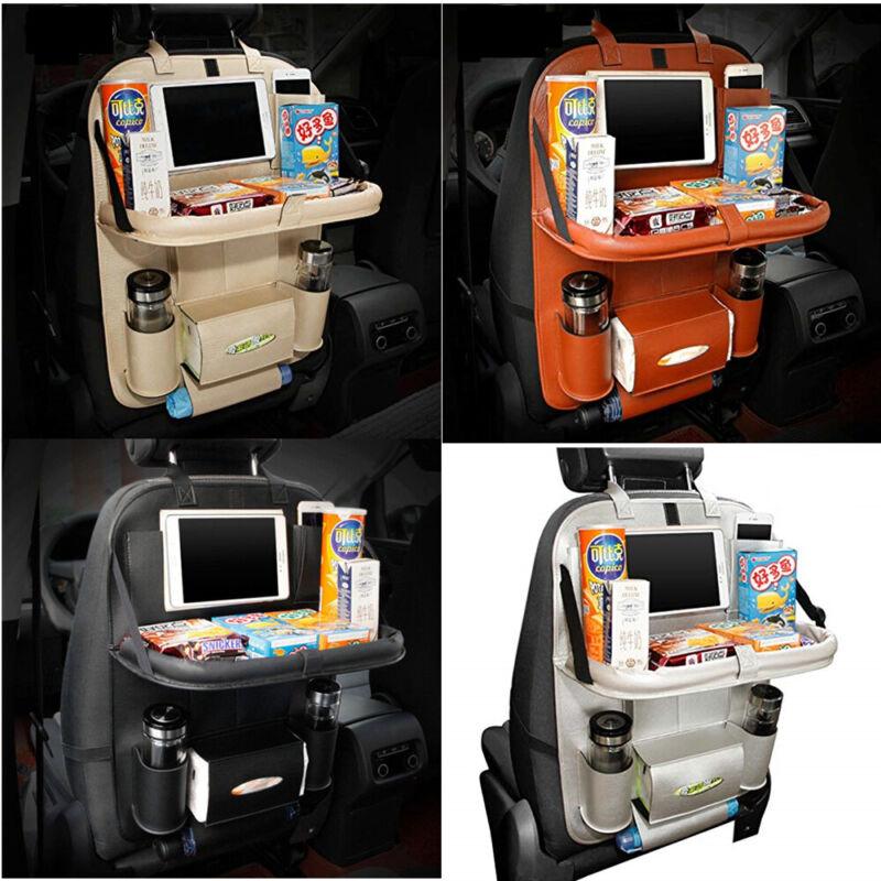 Car Organizer Seat Back Storage Leather Tray Holder Pocket Bag Table Universal