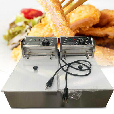 5000w 12 Liter Electric Countertop Deep Fryer Dual Tank Commercial Use Stainless