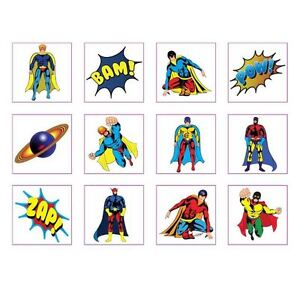 24 Pack of Super Hero Temporary Removable Tattoos - Party Loot Bag Fillers Boys
