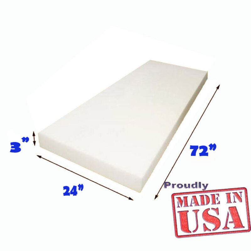 "3"" X 24"" X 72""  High Density Mybecca Upholstery Foam Cushion Replacement"