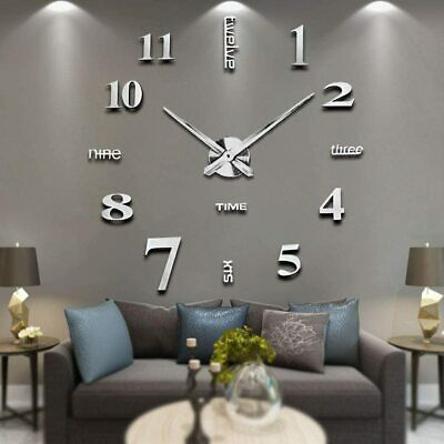 Home Decoration - Silver DIY Large 3D Numerals Wall Clock Surface Mirror Sticker Home Office Decor