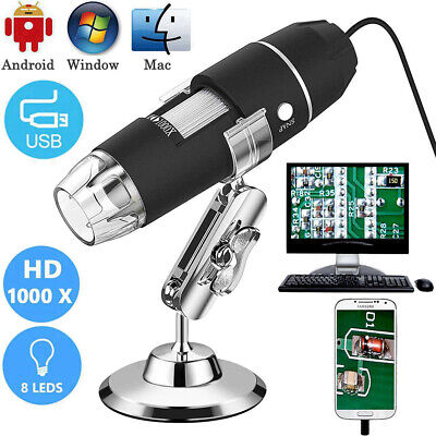 Usb Digital Microscope Endoscope 1000x 2mp 8led Magnifier Camera Lift Stand
