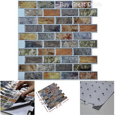 (3D Wall Art Bathroom Kitchen Backsplash Peel And Stick Faux Ceramic Tile 10Piece)