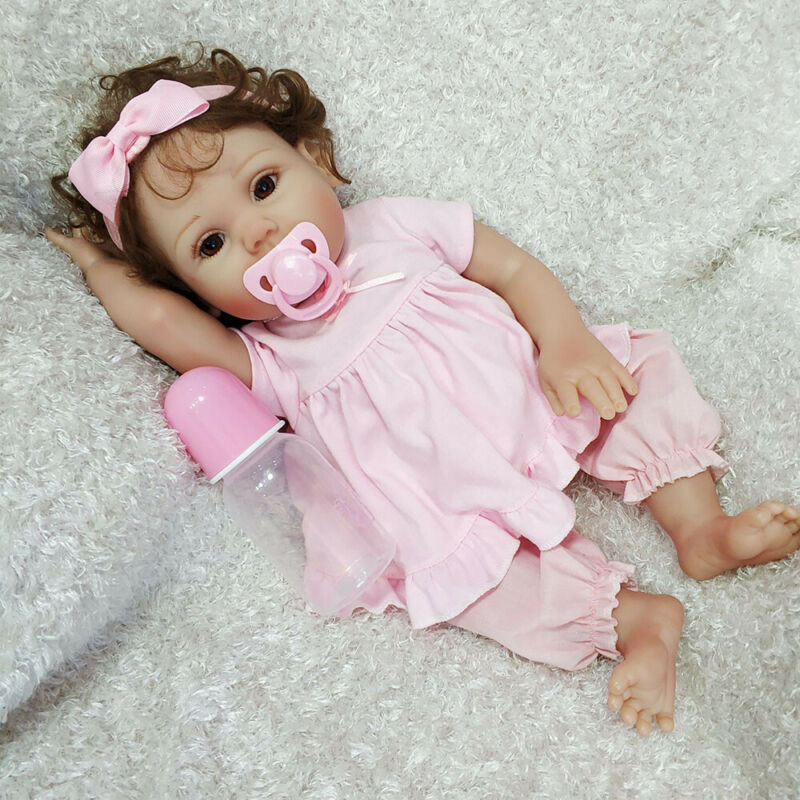"18"" Reborn Baby Doll Full Soft Body Silicone Vinyl Newborn Toddler Girl Dolls US"