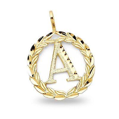 Letter 'A' Pendant Solid 14k Yellow Gold Initial Wreath Charm Diamond Cut Fancy