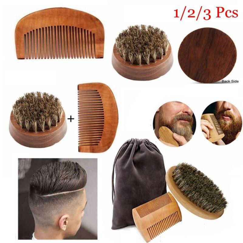 Mens Beauty Beard Grooming Facial Shaving Boar Bristle Brush