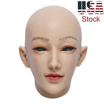 Crossdressing For Halloween (Western Female Women Face Silicone Mask For Crossdressers Halloween)