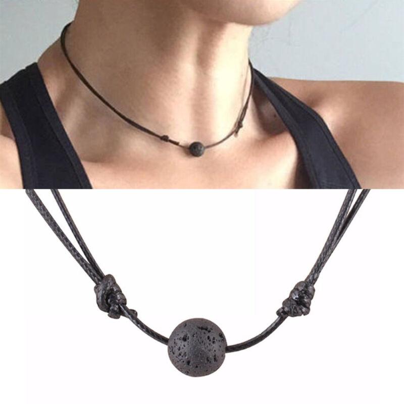 Charm Black Essential Oil Diffuser Necklace Lava Stone Leath