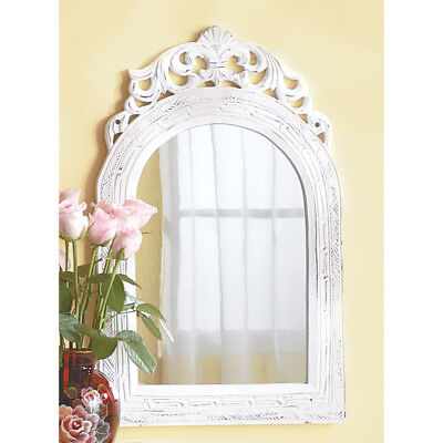 Arched Weathered White Wood Wall Mirror Shabby Distressed