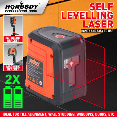 98ft Laser Level Self-leveling Horizontal Vertical Cross-line Laser 2 Pedestal