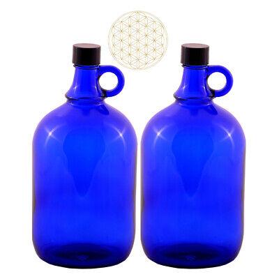 2 X Globo de Cristal Botella 2 Litros Azul Flor la Vida...