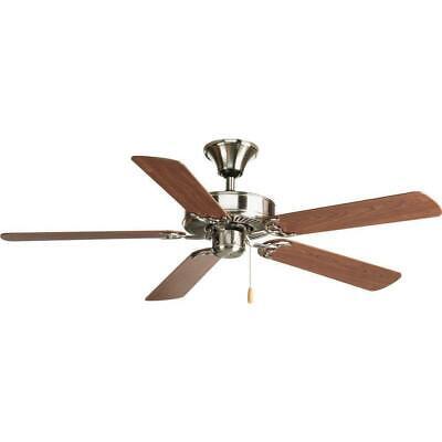 """Progress Lighting Airpro 52"""" Brushed Nickel Ceiling Fan w/ 5"""