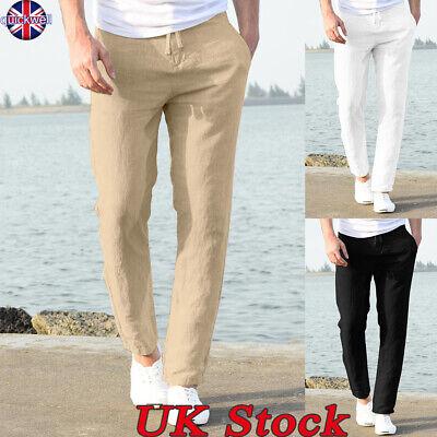 UK Mens Summer Casual Plain Pants Yoga Drawstring Loose Elasticated Trousers