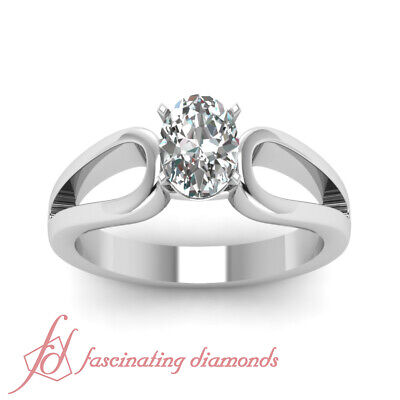 Solitaire Diamond Engagement Ring 0.70 Ct Oval Shaped SI2-D Color GIA Loop Duet 1