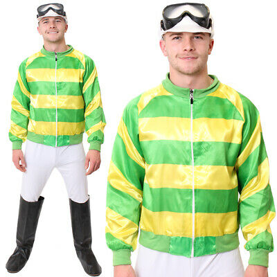 MENS JOCKEY COSTUME HORSE RACING FANCY DRESS GREEN TOP TROUSERS GOGGLES - Horse Racing Kostüm