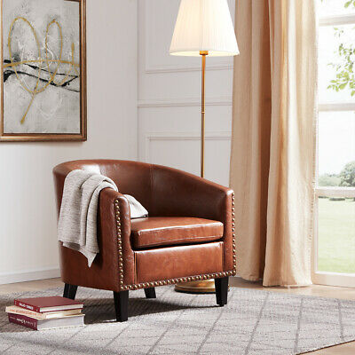 Leather Upholstered Club Chair (Contemporary Upholstered Arm Barrel Tub Club Accent Chair Furniture, Brown )