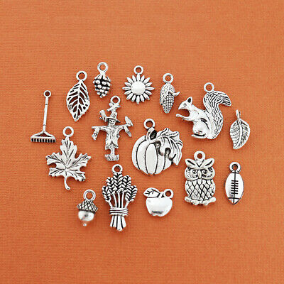 Fall Charm Collection Antique Silver Tone 15 Charms - COL322
