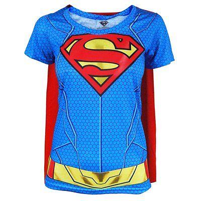 Damen DC Comics Supergirl Kostüm T-Shirt mit Cape NEU Superheld Kostüm