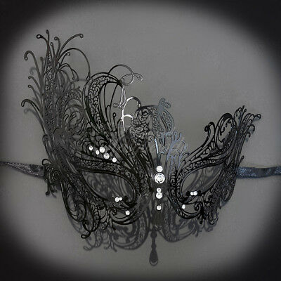 Black Swan Halloween (Black Metal Swan Mask Venetian Halloween Ball Masquerade Mask w/)