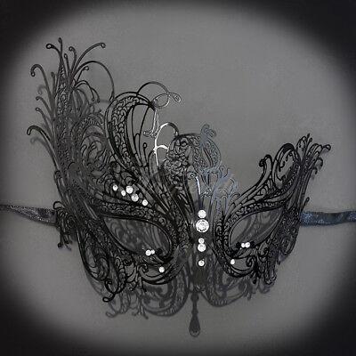 Black Metal Swan Mask Venetian Halloween Ball Masquerade Mask w/ rhinestones ()
