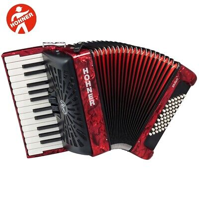 Hohner BR48R-N Bravo 26-Key 48 Bass Piano-Style Accordion Red + Bag, Straps
