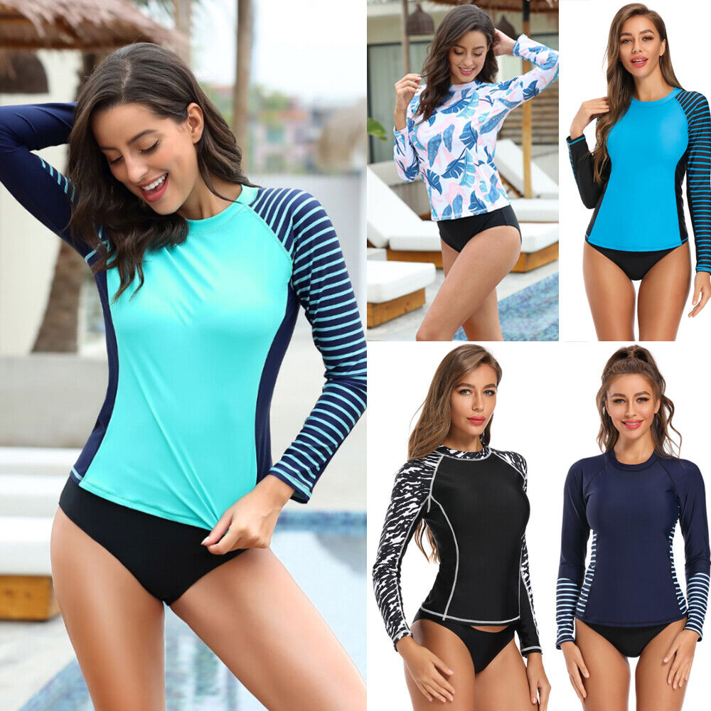 Womens Long Sleeve Rash Guard UV UPF 50 Sun Protection Swim Shirts Surf Top