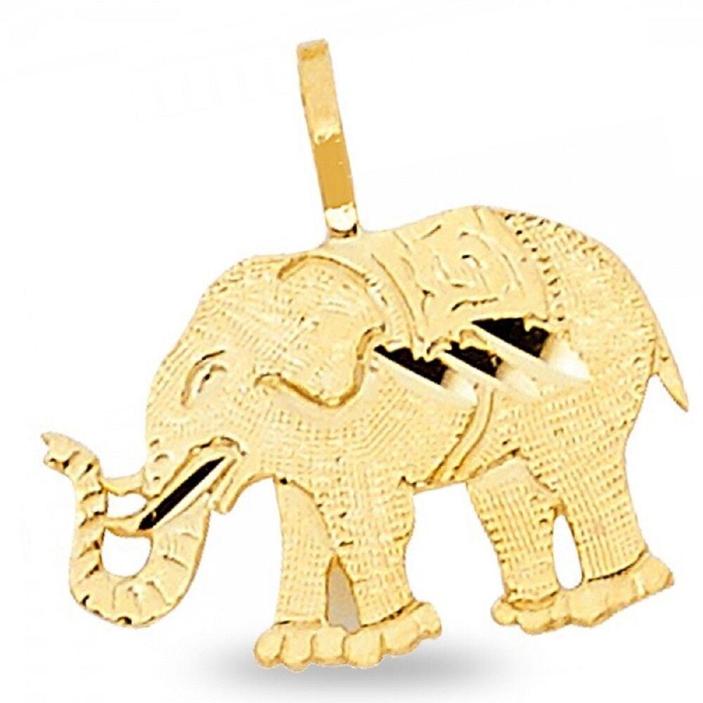 Small Elephant Pendant Solid 14k Yellow Gold Charm Animal Design Polished Tiny