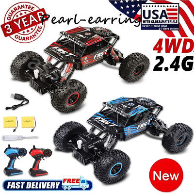 2x 4WD 2.4GHz RC Monster Rock Truck Off-Road Vehicle Buggy Crawler Car Toy Gifts