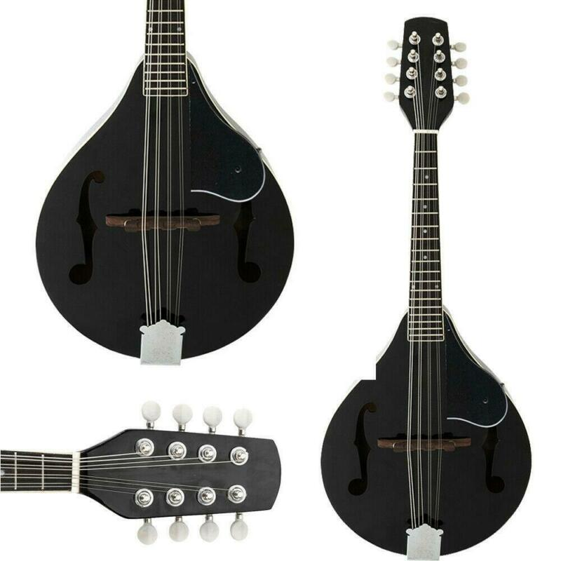 High Quality 8 Strings Elegant Cambered Wood Acoustic Mandolin Black