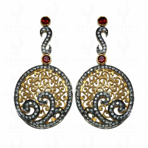 925 Silver Rose Cut Diamond Earrings Garnet Victorian Style Women Dangle Jewelry