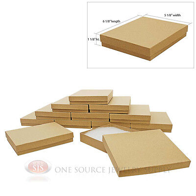 Large 12 Brown Kraft Cotton Filled Jewelry Gift Boxes 6 18 X 5 18 X 1 18h