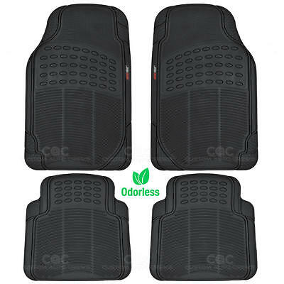 MotorTrend Car Floor Mats 100% Odorless Rubber All Weather Protection Black