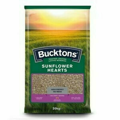Bucktons Hulled Sunflower Hearts - Wild Bird Food - High Protein Seed Feed 20kg